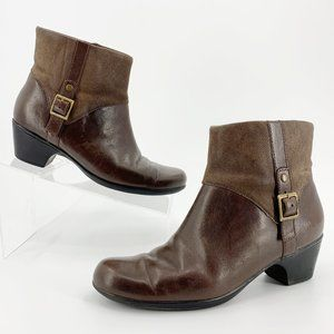 Clarks Dover Brown Leather Ankle Boots Booties